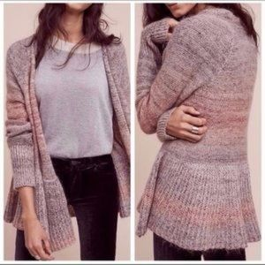 Anthro Knitted and Knotted Peplum Ruffle Cardigan